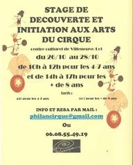 Stage de découverte et initiation aux arts du cirque
